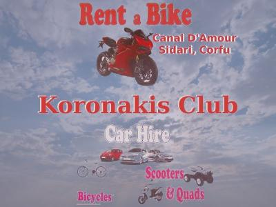 Koronakis Club - Hire/Rent Cars, Scooters, Quad Bikes, Buggies, Bicycles in Canal D' Amour, Sidari, Corfu - HireCorfu.com